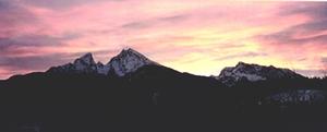 Foto Watzmann Abendrot im Berchtesgadener Land